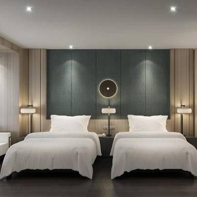 中式客房, 单人床, 床头柜, 台灯, 多人沙发, 中式