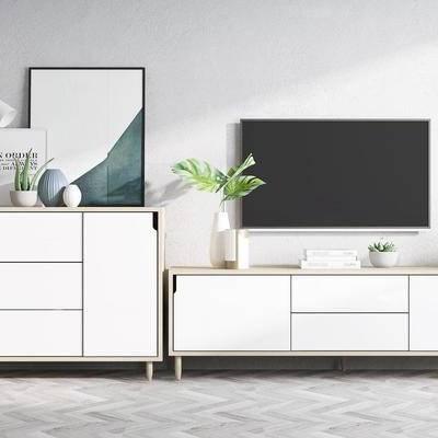 北歐簡約, 電視柜, 柜子組合, 植物盆栽, 電視, 下得樂3888套模型合輯