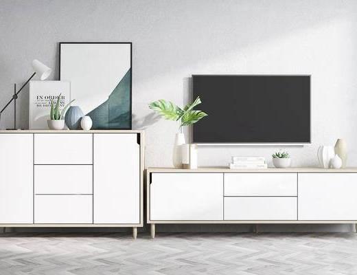 北欧简约, 电视柜, 柜子组合, 植物盆栽, 电视