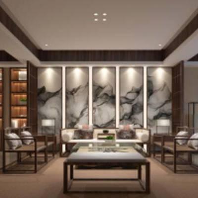 中式客厅, 中式桌椅组合, 壁画, 茶几, 储物柜, 壁灯, 台灯, 中式