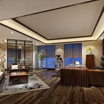 新中式办公室, 桌子, 椅子, 置物柜, 茶几, 屏风, 盆栽, 花瓶, 边柜, 边几, 台灯, 地毯, 新中式