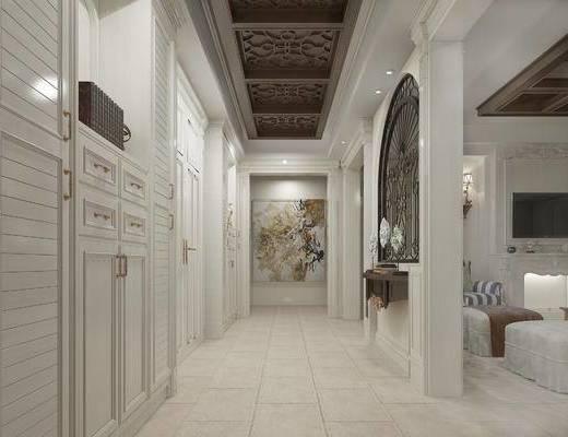 欧式玄关走廊, 椅子, 壁灯, 置物柜, 壁画, 欧式