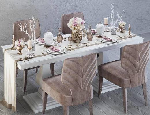 欧式, 餐桌, 椅子, 餐具, 花瓶