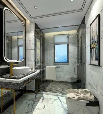 卫生间, 洗手台, 镜子, 壁画, 马桶, 淋浴间, 毛巾, 现代
