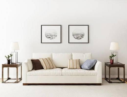 摆件组合, 挂画, 双人沙发, 台灯, 边几, 新中式