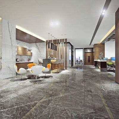 现代办公室, 桌子, 椅子, 吊灯, 置物柜, 现代