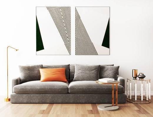 摆件组合, 双人沙发, 壁画, 落地灯, 圆几, 现代