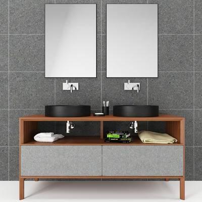 洗手台, 镜子, 毛巾, 现代