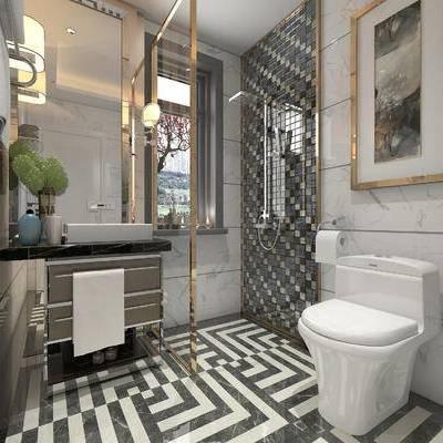 卫浴, 壁画, 马桶, 洗手台, 壁灯, 毛巾, 现代