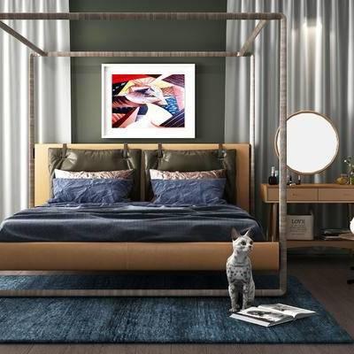 床具组合, 双人床, 壁画, 梳妆台, 猫, 地毯, 现代