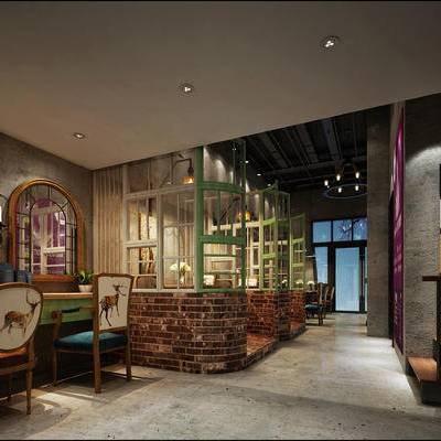 现代咖啡厅, 桌子, 椅子, 吊灯, 壁灯, 现代