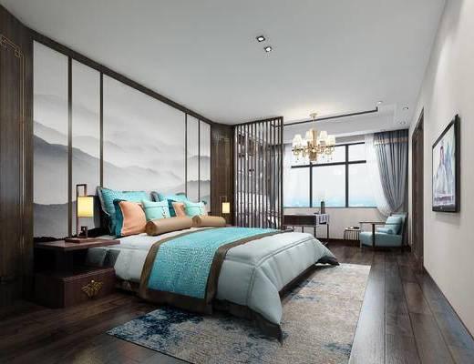 新中式卧室, 壁画, 双人床, 吊灯, 台灯, 椅子, 床头柜, 地毯, 新中式
