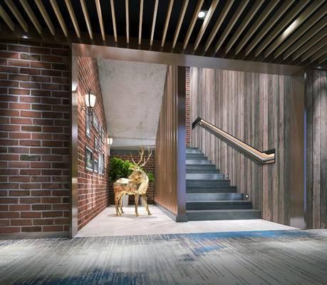 走廊过道, 雕塑, 壁画, 现代
