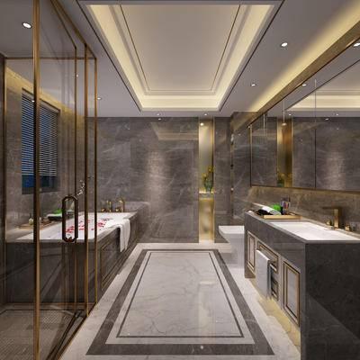 现代卫浴, 浴缸, 洗手台, 马桶, 现代
