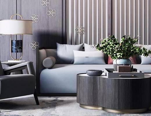 新中式, 吊灯, 沙发, 实木茶几, 盆栽