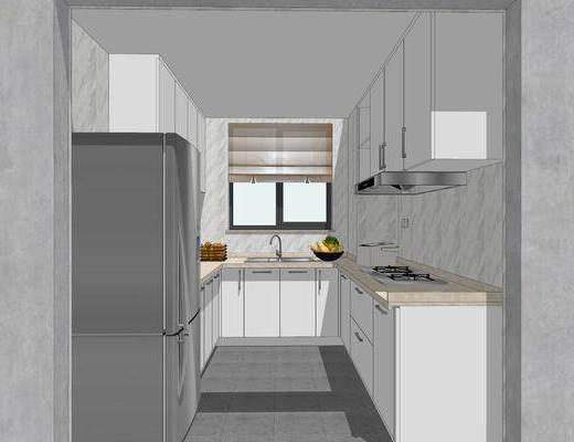 厨房, 现代, 橱柜, 单椅, 吧台