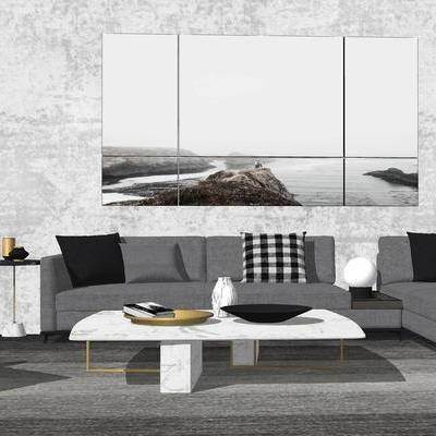 沙发, 茶几, 现代, 落地灯, 边几, 沙发组合, 多人沙发