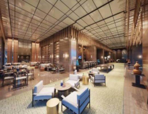 酒店大堂, 沙发茶几组合, 单人沙发, 吧台, 洽谈会客区, 中式