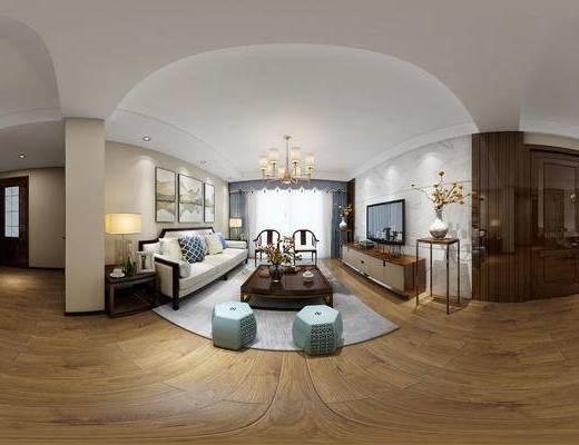 新中式客餐厅, 新中式沙发茶几组合, 吊灯, 电视柜, 边几, 花瓶, 壁画, 台灯, 相框, 桌椅组合, 边柜, 单人椅, 地毯, 新中式