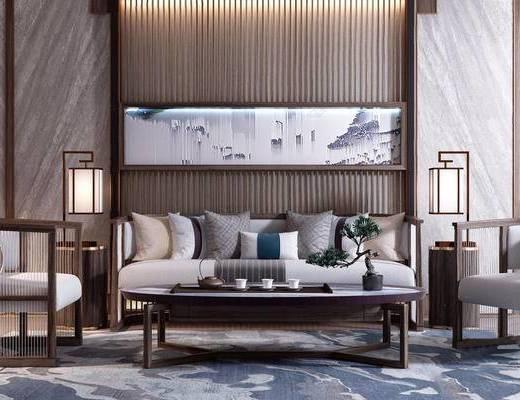 新中式, 沙发茶几组合, 落地灯, 茶具组合, 植物盆栽, 下得乐3888套模型合辑
