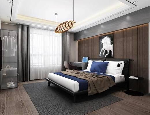 卧室, 吊灯, 床, 挂画, 装饰画, 书桌, 椅子, 床头柜