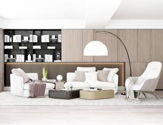 沙发组合, 多人沙发, 茶几, 椅子, 落地灯, 置物柜, 现代
