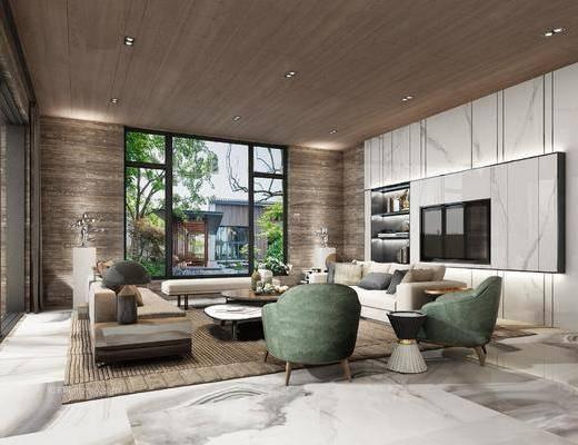 现代简约, 客厅, 沙发茶几组合, 别墅