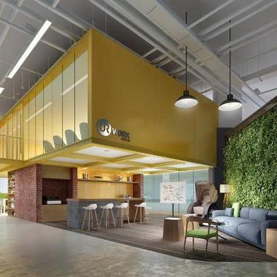 现代售楼部, 吊灯, 吧椅, 吧台, 多人沙发, 椅子, 落地灯, 现代