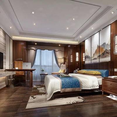 中式客房, 双人床, 壁画, 床头柜, 椅子, 边几, 桌子, 吊灯, 地毯, 中式