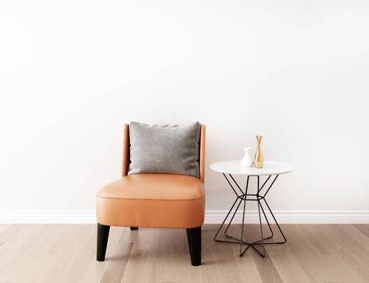 摆件组合, 单人沙发, 圆几, 现代