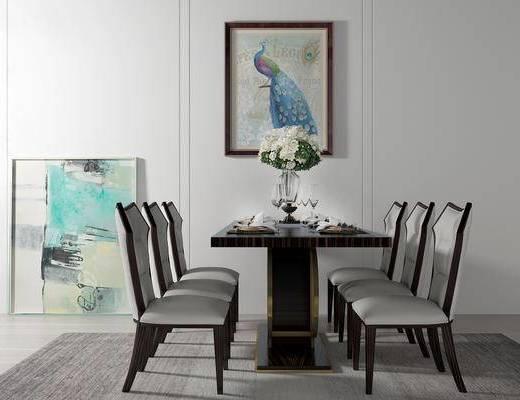桌椅组合, 椅子, 桌子, 壁画, 花瓶, 美式