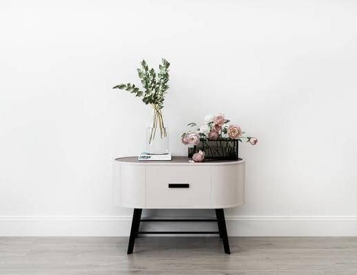 摆件组合, 床头柜, 花瓶, 花卉, 现代