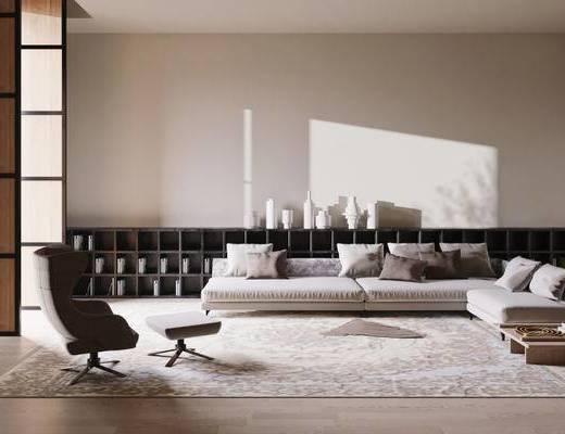 现代简约, 沙发茶几组合, 置物柜, 陈设品组合, 现代
