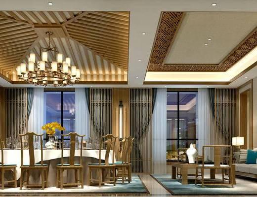 中式饭厅, 中式餐桌椅组合, 吊灯, 沙发茶几组合, 边几, 台灯, 壁画, 地毯, 壁灯, 花瓶, 屏风, 中式