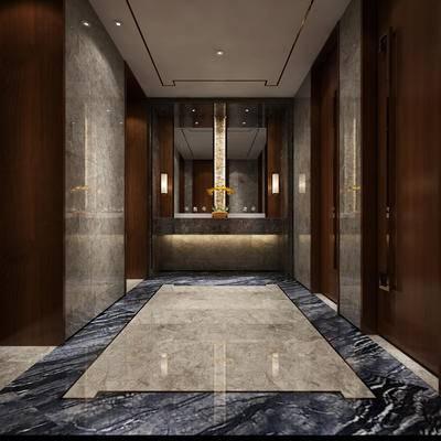 现代卫浴, 洗手台, 壁灯, 镜子, 现代