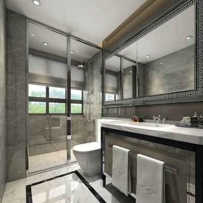 卫生间, 洗手台, 镜子, 马桶, 淋浴间, 毛巾, 现代