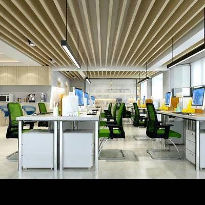 现代办公室, 吊灯, 办公桌椅, 壁画, 橱柜, 吧椅, 茶水间, 现代