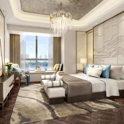 新中式, 卧室, 吊灯, 床, 床头柜, 台灯, 窗帘, 电视柜, 花瓶, 地毯, 下得乐3888套模型合辑