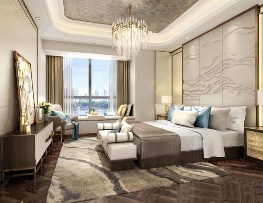 新中式, 卧室, 床具组合, 吊灯