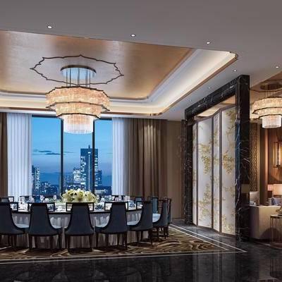 中式客餐厅, 桌子, 椅子, 边几, 台灯, 电视柜, 多人沙发, 吊灯, 屏风, 中式