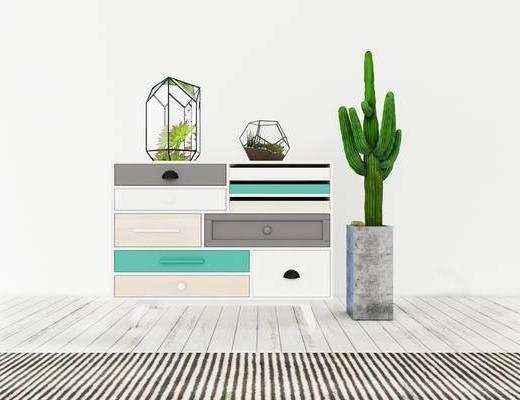 边柜, 盆栽, 现代