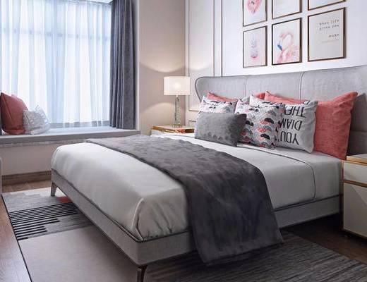 现代简约, 卧室, 床具组合, 台灯, 装饰画