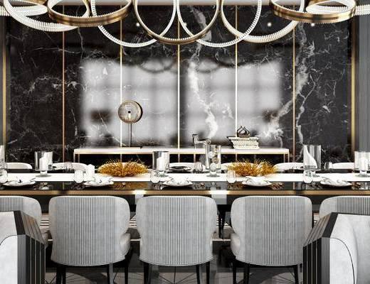 后现代餐厅, 吊灯, 桌子, 椅子, 多人沙发, 落地灯, 后现代
