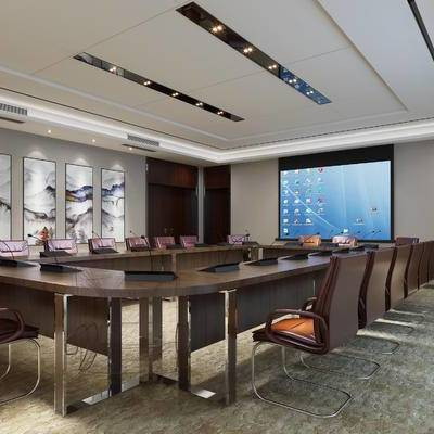 现代会议室, 会议桌, 壁画, 椅子, 现代