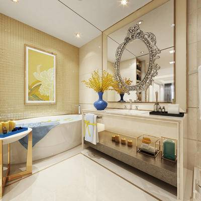 卫浴, 浴缸, 壁画, 洗手台, 花瓶, 镜子, 美式