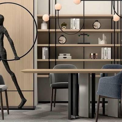 桌椅组合, 吊灯, 桌子, 椅子, 置物柜, 现代