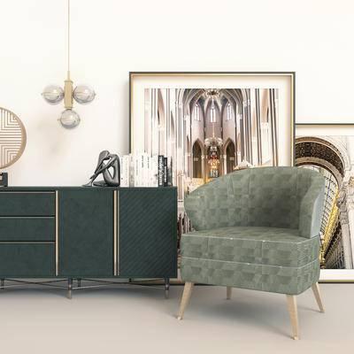现代边柜, 边柜组合, 边柜, 单椅
