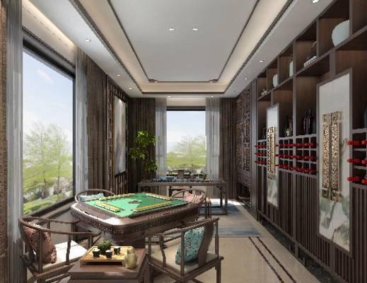 娱乐室, 休闲区, 桌子, 椅子, 酒柜, 边几, 新中式