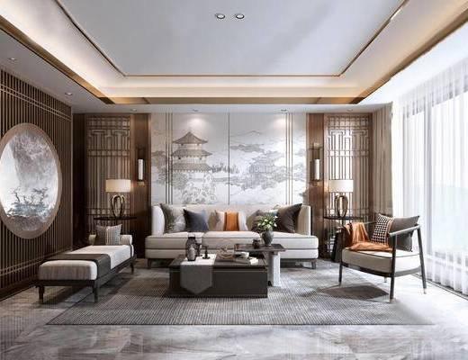 沙发组合, 茶几, 单椅, 背景墙, 吊灯, 壁灯