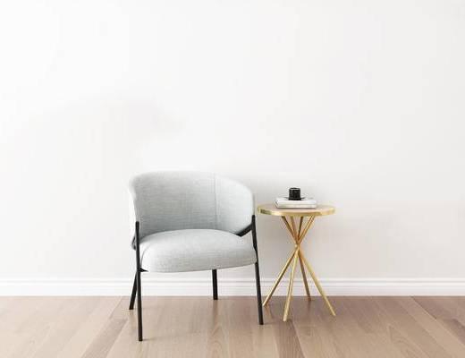 桌椅组合, 单椅, 椅子, 圆几, 北欧